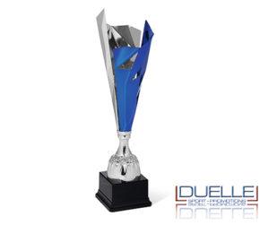 Coppa argento e blu personalizzata con stampa per premiazioni