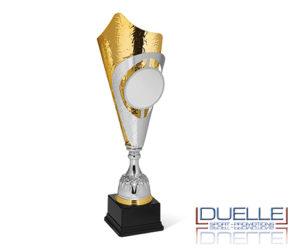Coppa trofeo argento e oro personalizzata con stampa a colori