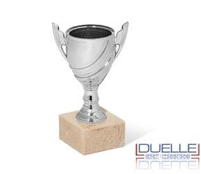 Coppa economica personalizzata mini in plastica colore argento con base in marmo