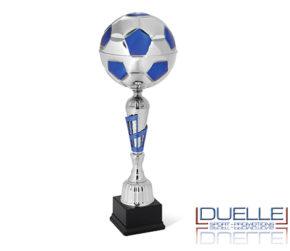 Coppa per premiazioni pallone da calcio argentata e blu