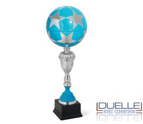 Coppa premiazioni sportive pallone da calcio azzurro
