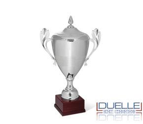 Coppa per premiazioni personalizzata argento con coperchio