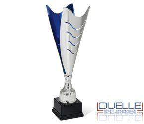 Coppa argento e blu personalizzata con stampa per premiazioni sportive