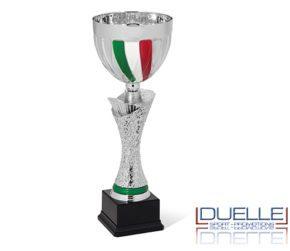 Coppe per premiazioni sportive argentate con tricolore personalizzate