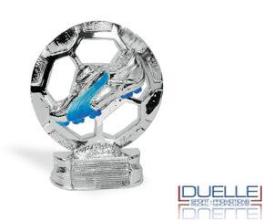Trofeo sportivo personalizzato con scarpa da calcio in resina metallizzata