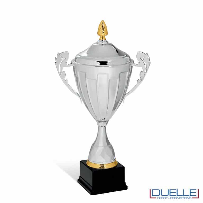 Coppa argento con manici a foglia personalizzabile