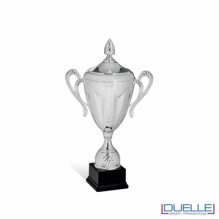 Coppa conica argento con manici personalizzabile e lavorazione in rilievo