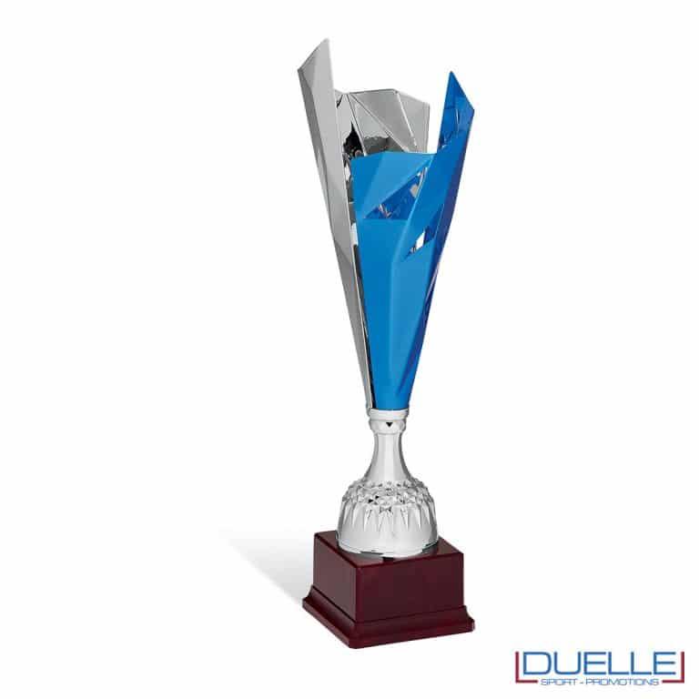 Coppa premiazioni argento e blu slanciata personalizzabile