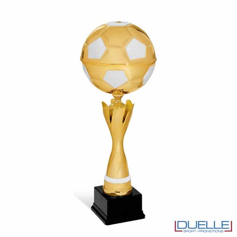 Coppa oro calcio da personalizzare con pallone
