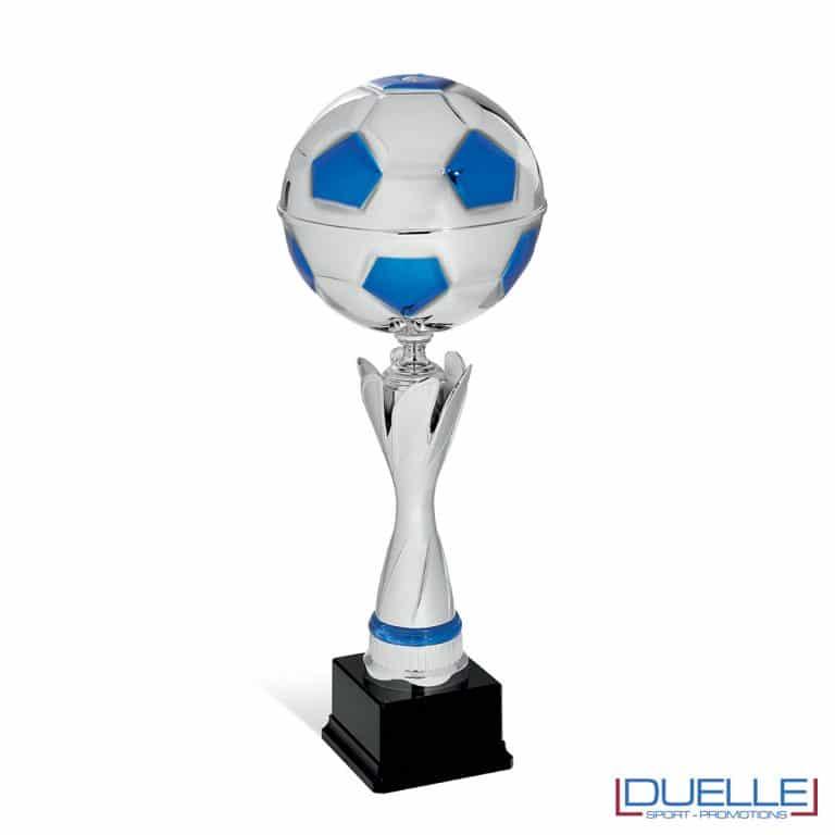 Coppa calcio argento e blu personalizzabile con pallone premiazioni