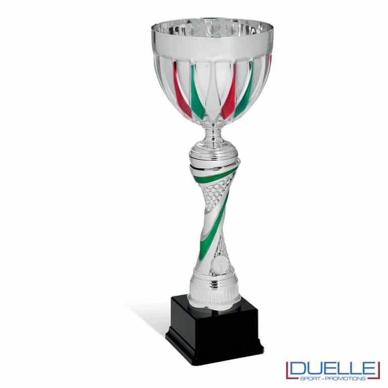 Coppa silver con tricolore premiazioni personalizzabile