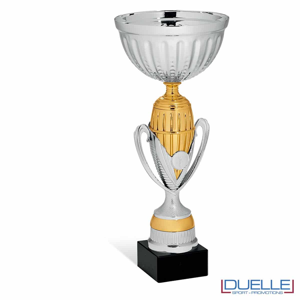 Coppa personalizzabile silver e oro con manici premiazioni