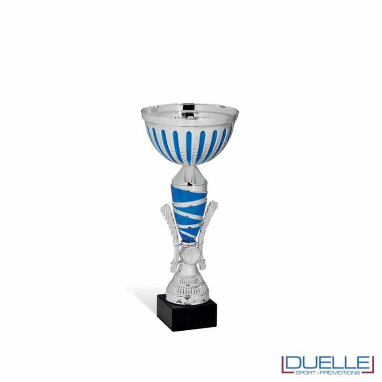 Coppa in metallo personalizzabile cromata argento e blu
