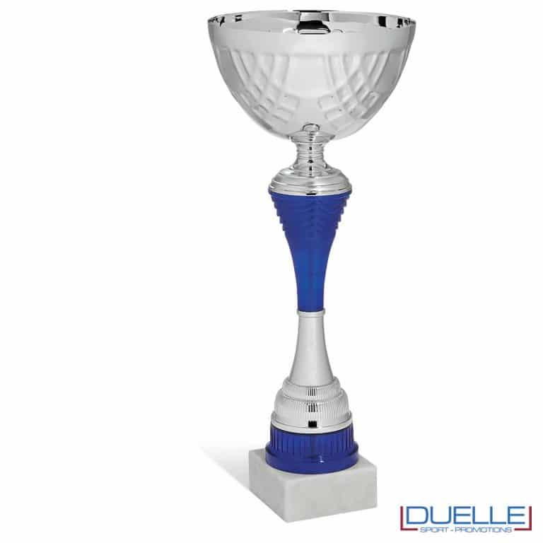Coppa in metallo personalizzabile con targhetta corpo colore blu