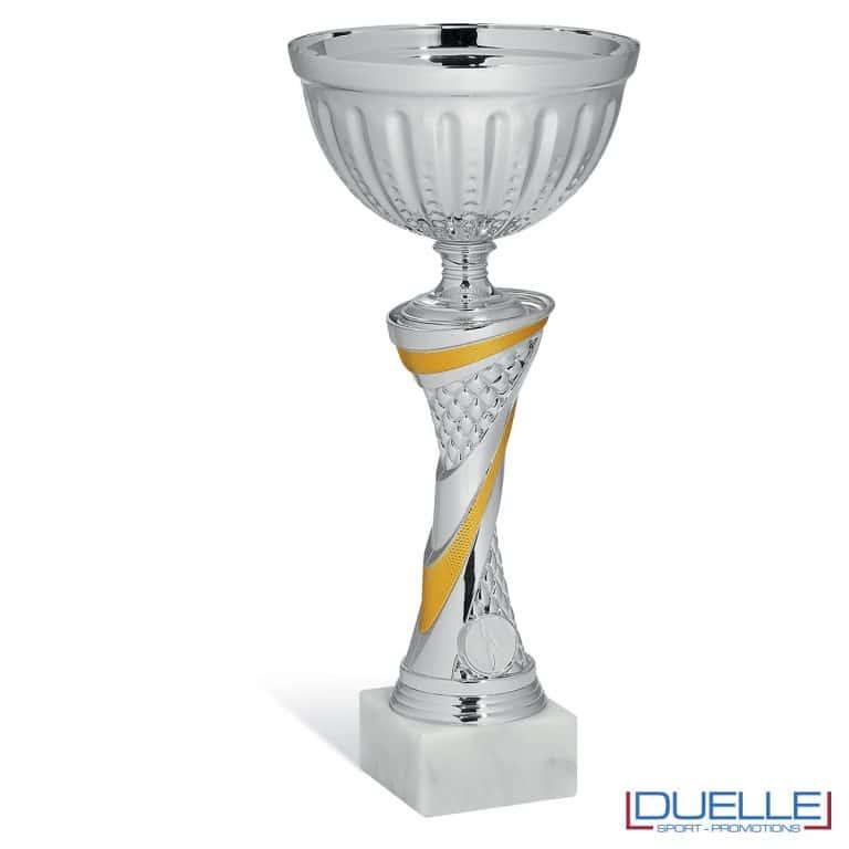 Coppa metallo personalizzabile dettaglio giallo in box da 6