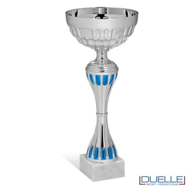 Coppa argento con dettagli blu personalizzabile in box da 6