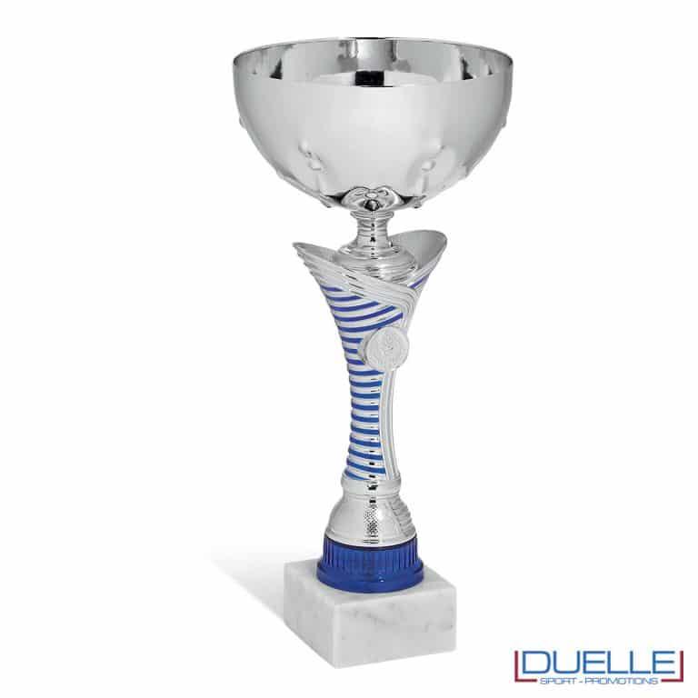Coppa personalizzabile argento con riga blu premiazioni in box