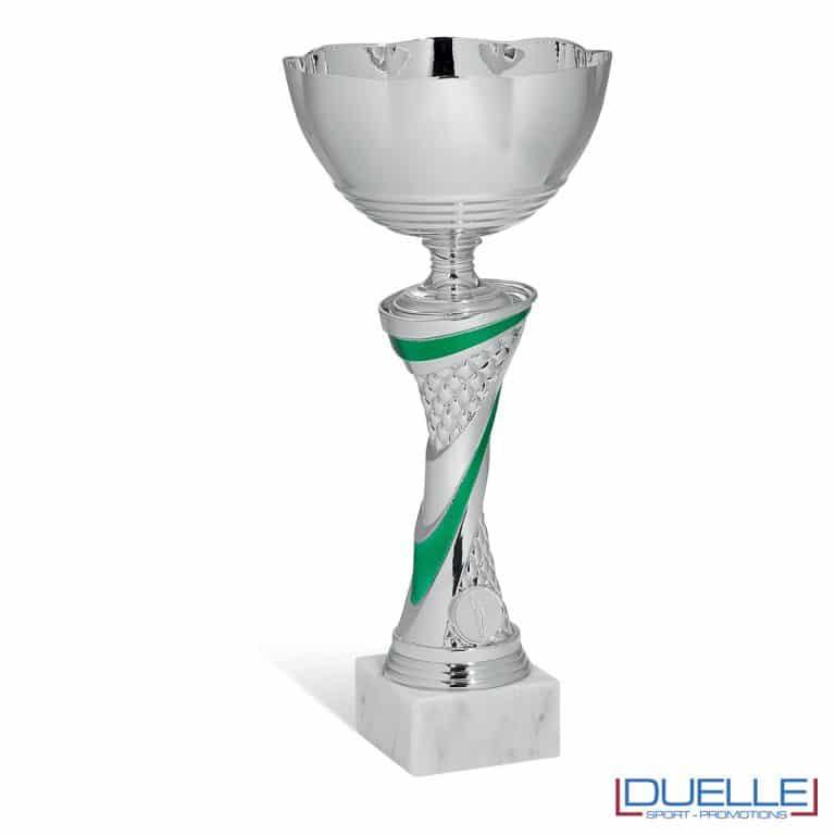 Coppa argento personalizzabile con particolari verdi set da 6 pezzi