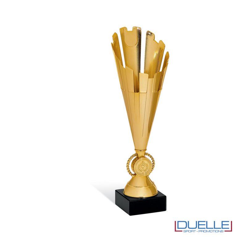 Coppa trofeo con alloro colore oro per premiazioni