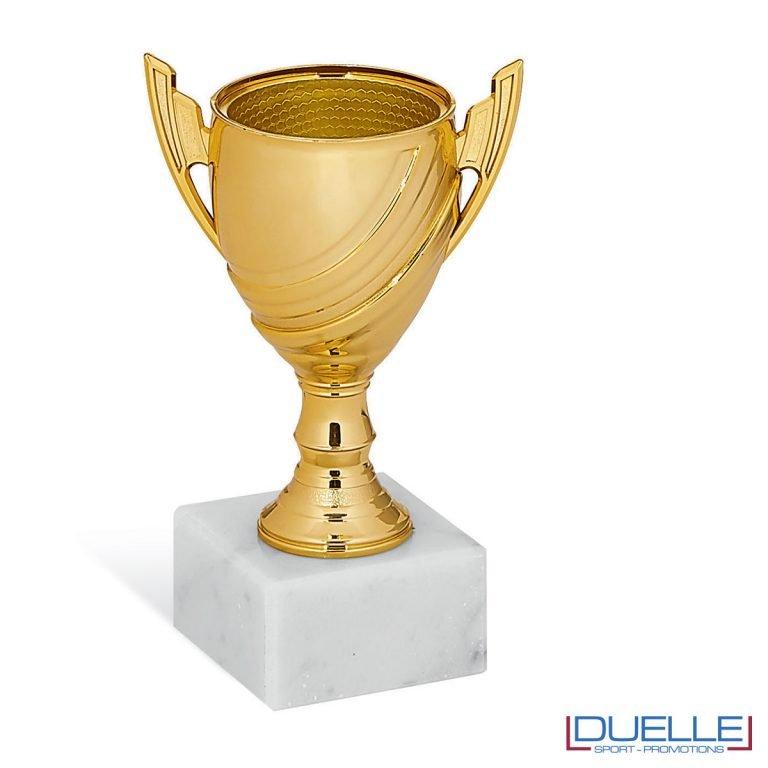 Coppa sportiva mini in plastica colore oro