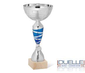 Coppa personalizzata economica argento particolari blu