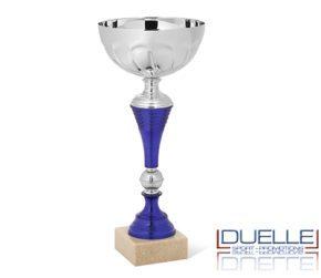 Coppa personalizzata per premiazioni sportive argento e blu