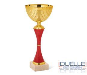 Coppa per premiazioni sportive oro e rossa personalizzata