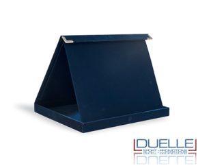 Astuccio in velluto blu con targa personalizzata con stampa a colori