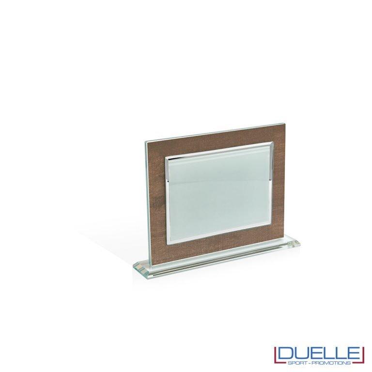Targa in vetro sub con supporto in vetro