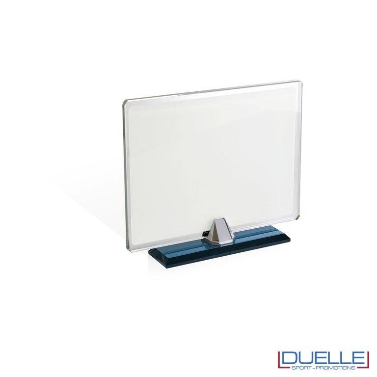 Targa sublimatica in vetro con base removibile