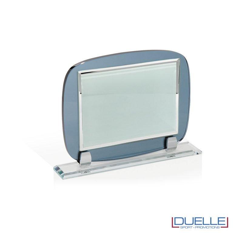 Supporto in vetro con targa personalizzabile con stampa