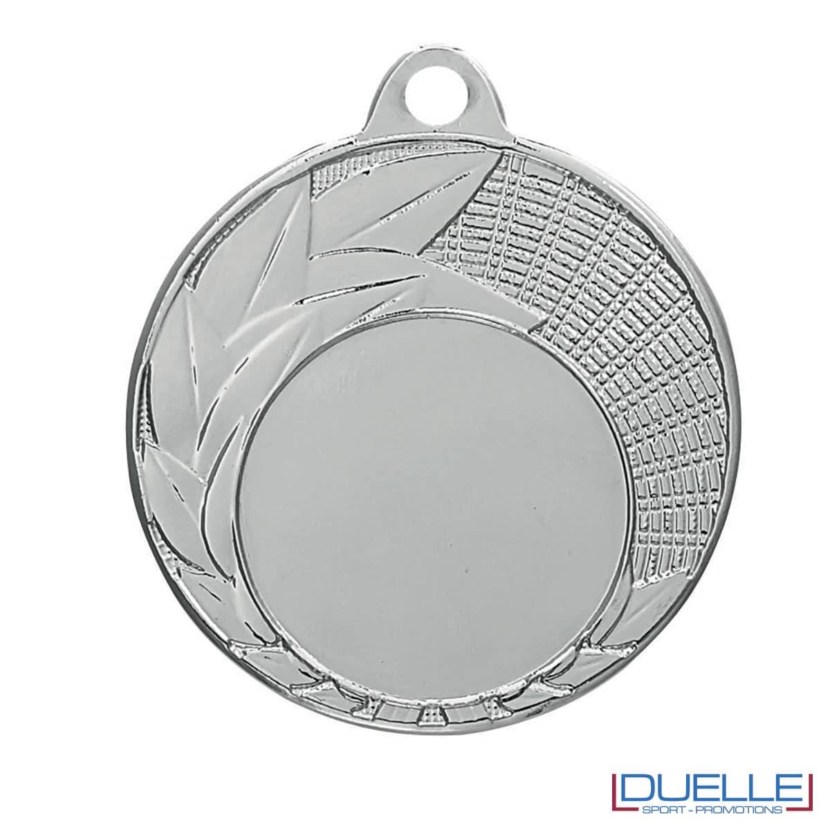 Medaglia color argento con foglie decorate 40 mm