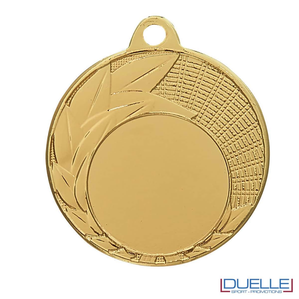 Medaglia oro 40 mm con decorazione foglie personalizzabile
