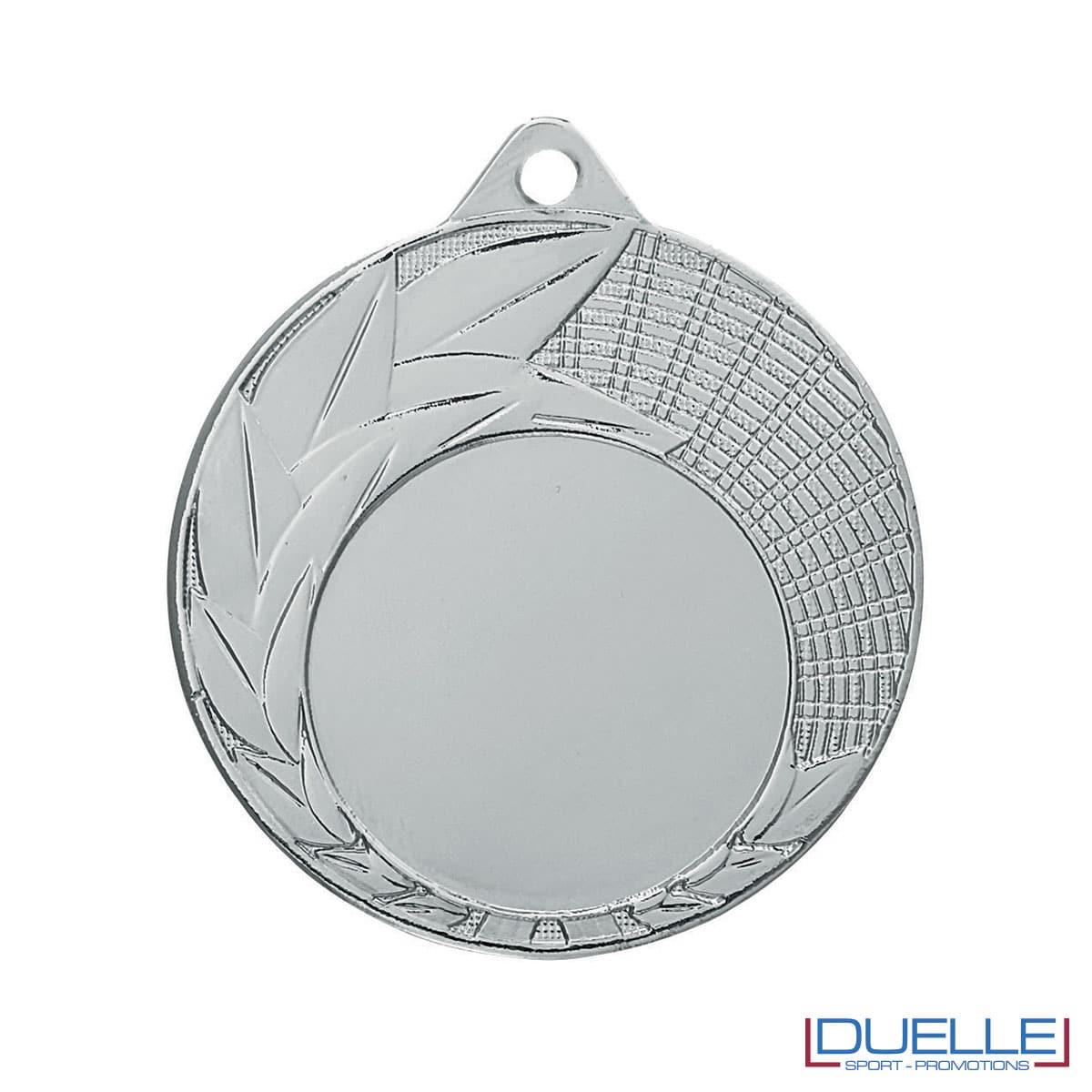 Medaglia color argento con foglie decorate 50 mm