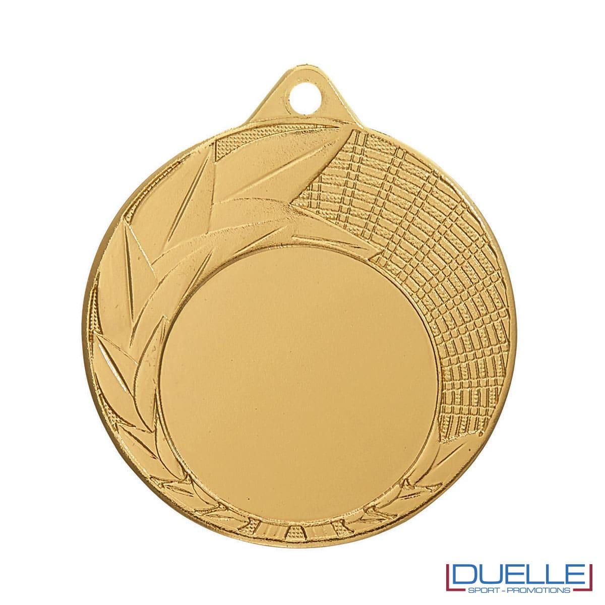 Medaglia oro 50 mm con decorazione foglie personalizzabile