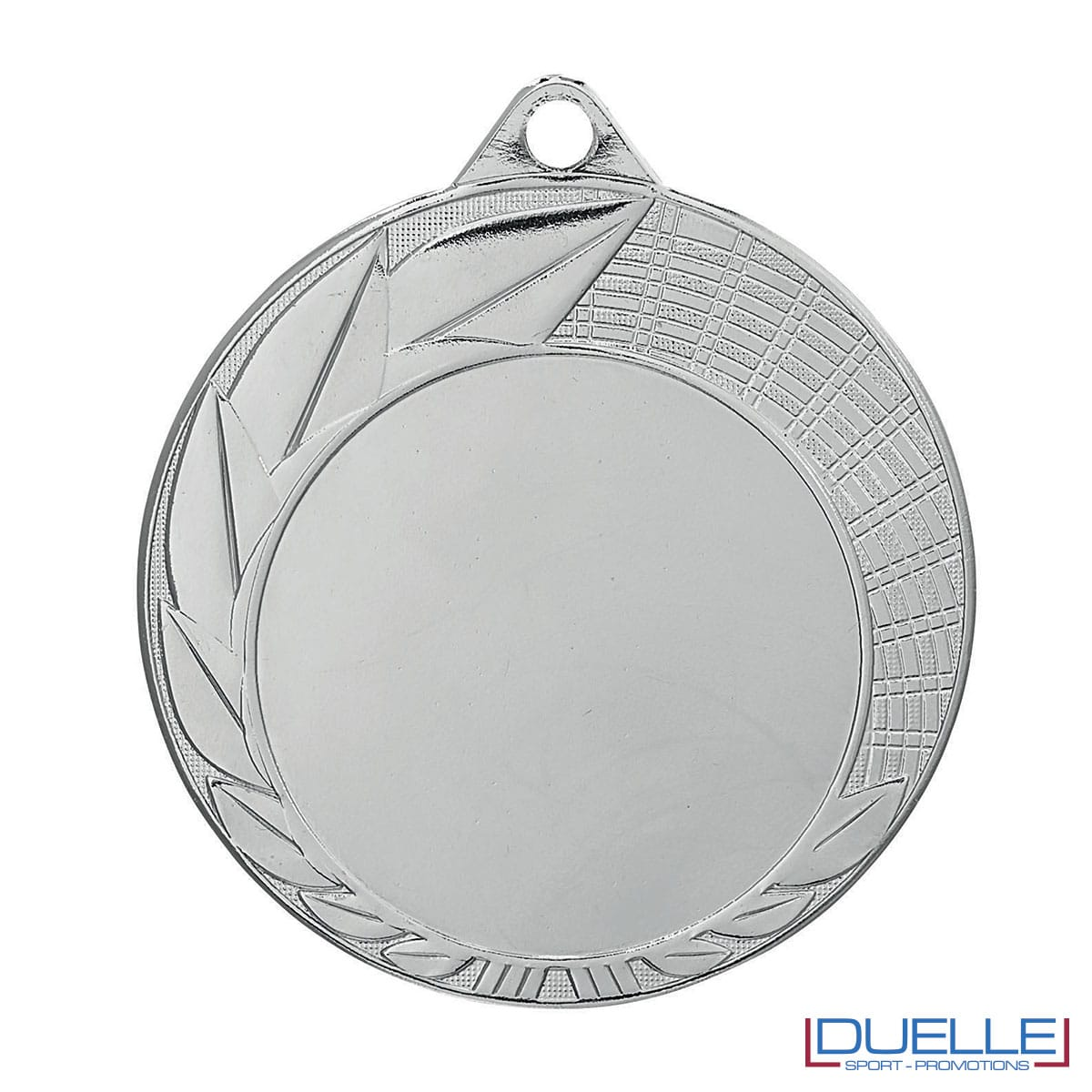 Medaglia color argento con foglie decorate 70 mm