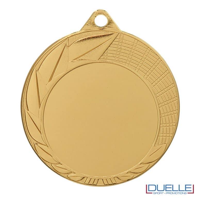Medaglia oro 70 mm con decorazione foglie personalizzabile