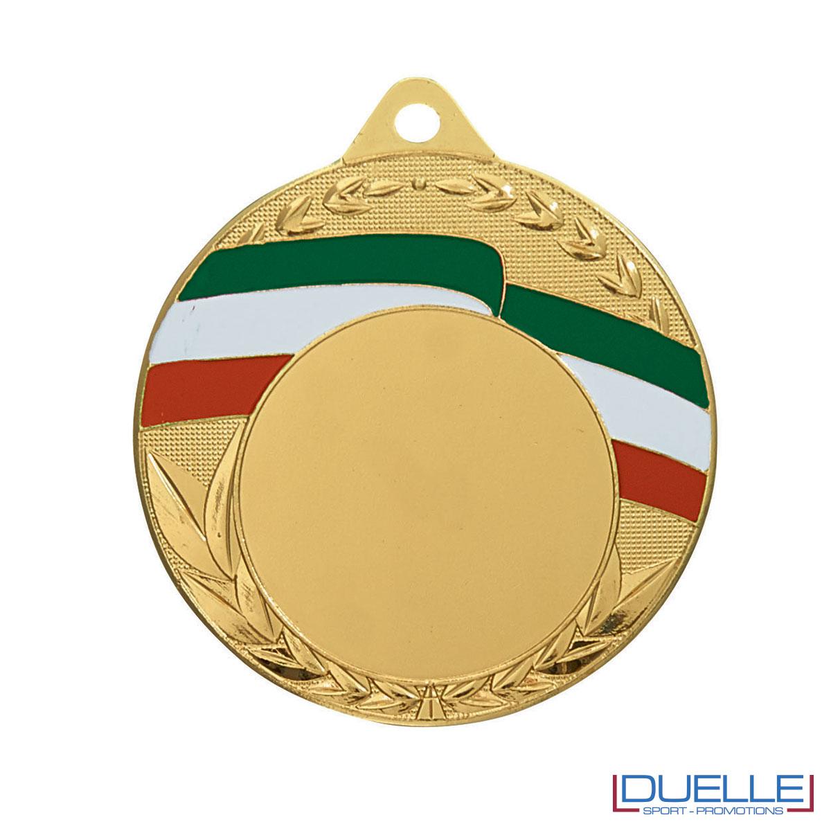 Medaglia oro 50 mm con tricolore personalizzabile