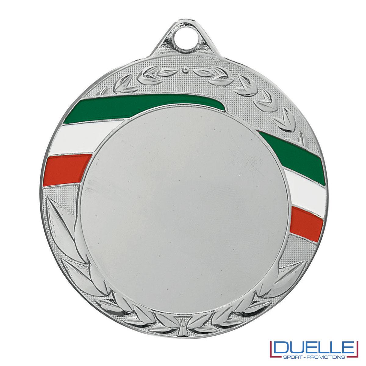 Medaglia personalizzabile argento con tricolore