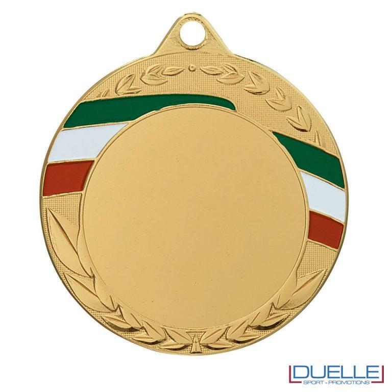 Medaglia oro 70 mm con tricolore personalizzabile